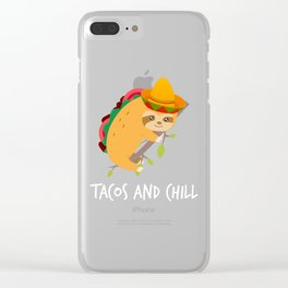 Tacos And Chill Mexican Taco Sloth Cinco De Mayo Clear iPhone Case