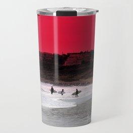 Surfers under a red sunset Travel Mug