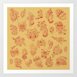 TRADITIONAL TATTOO PATTERN (COLORED) Art Print