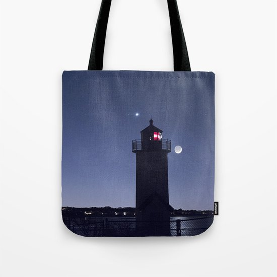 Moon Venus and the Annisquam Lighthouse Tote Bag