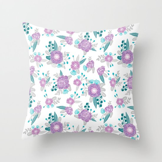 Lilac Floral Throw Pillow : Floral bouquet minimal lilac and turquoise nursery home decor patterned gifts Throw Pillow by ...