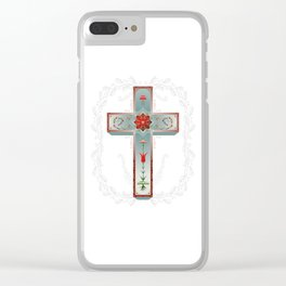 Blue Sky Cross Clear iPhone Case