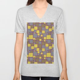 Gray Yellow Brown Purple Funky Mosaic Pattern V12 Pantone 2021 Colors of the Year & Accent Shades Unisex V-Neck