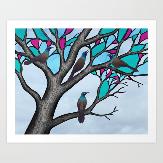 grackles in the stained glass tree Art Print