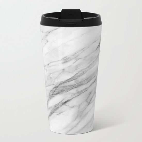 Carrara Marble Metal Travel Mug