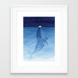 Whale blue ocean Framed Art Print