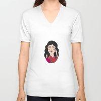 make up V-neck T-shirts featuring Make up by Judit Canela