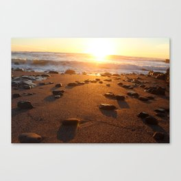 Water Crashing on the Shore During Sunset on the Beach Canvas Print