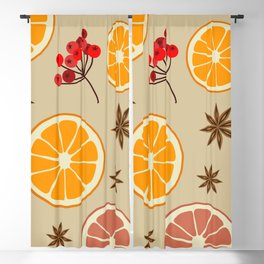 Cozy Winter, Winter Aroma, Citrus, Berries, Spices Blackout Curtain
