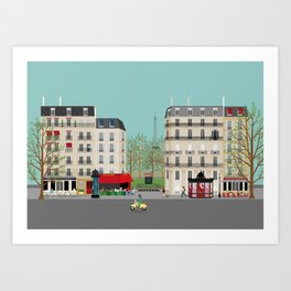 Paris Street Scene Art Print - Daytime Art Print