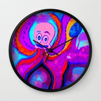 lsd Wall Clocks featuring octopus LSD by MichellicA