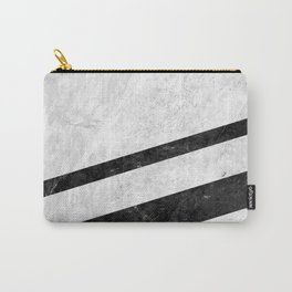 White Striped Marble Carry-All Pouch
