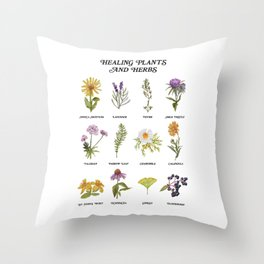Healing Plants and Herbs Throw Pillow