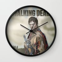 the walking dead Wall Clocks featuring The Walking Dead by ketizoloto