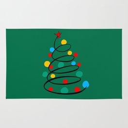 Christmas Tree Minimal Design Art Red Blue Green Rug