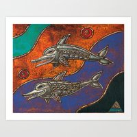 dolphins Art Prints featuring Dolphins by Sherdeb Akadan