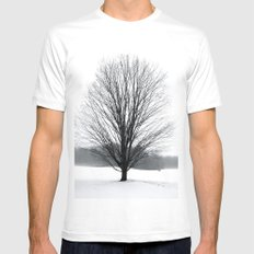 A Cold Winters Fog MEDIUM White Mens Fitted Tee