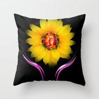 sunflower Throw Pillows featuring Sunflower by Walter Zettl