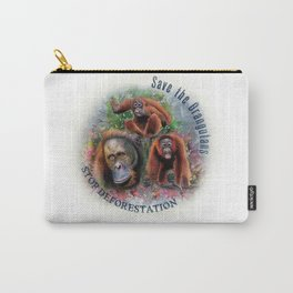 Save the Orangutans Watercolor Illustration Carry-All Pouch