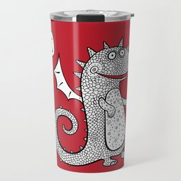 Cartoon dragon. Chinese Animal astrological signs. Hand drawn illustration. Travel Mug
