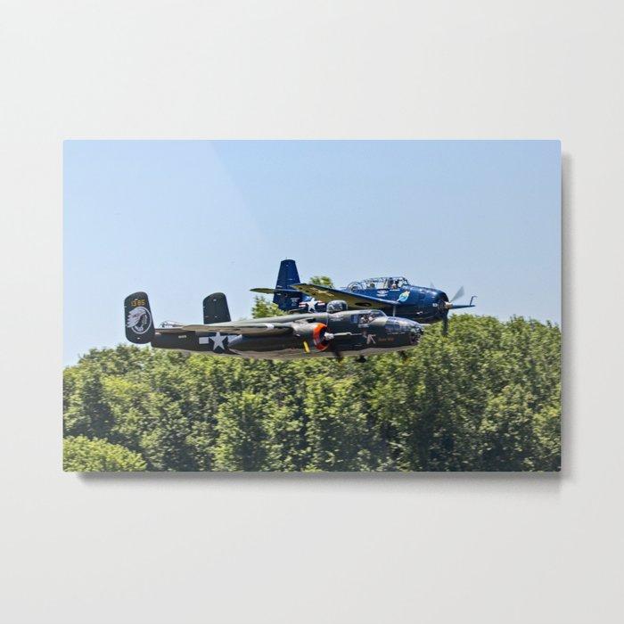 B-24 and Hellcat World War II Aircraft Fly Together at Mosby Missouri Metal Print