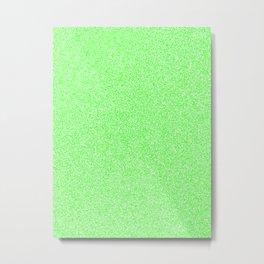 Melange - White and Neon Green Metal Print