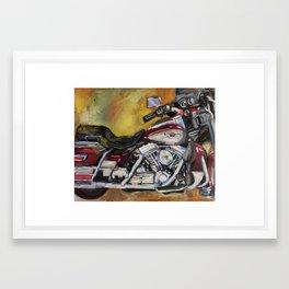 Burgundy Motorcycle 95 Anniversary Tom's Bike Framed Art Print