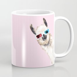 Sneaky Llama with 3D Glasses in Pink Coffee Mug