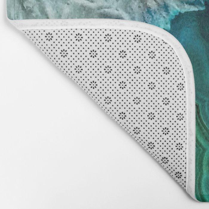 Aqua turquoise agate mineral gem stone- Beautiful backdrop Bath Mat