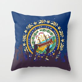 New Hampshire State Flag with Audience Throw Pillow