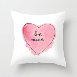 Watercolor BE MINE Heart Throw Pillow