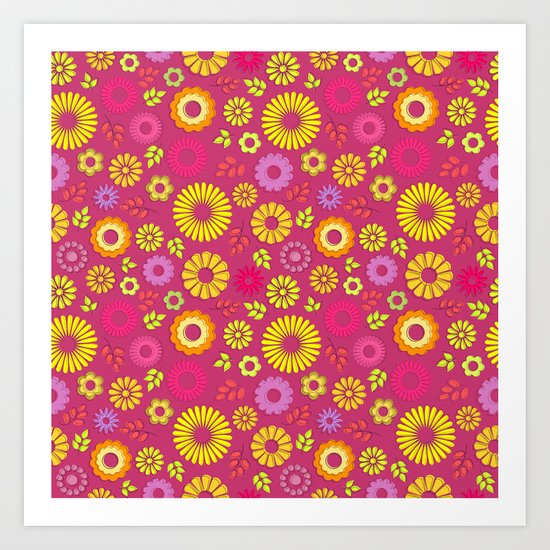 Country flowers in pink Art Print