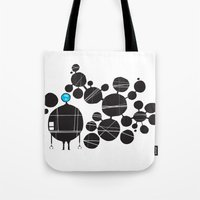 robot Tote Bags featuring robot by alex eben meyer