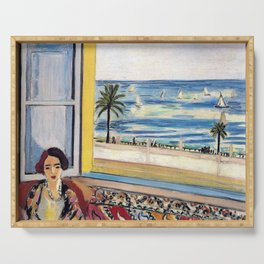 Seated Woman, Back Turned to the Open Window of Ocean & Seaside by Henri Matisse Serving Tray