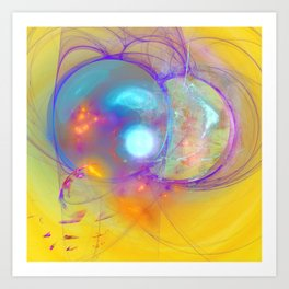 Planetary creation in yellow space Art Print