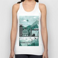 travel poster Tank Tops featuring Vancouver Travel Poster Illustration by ClaireIllustrations