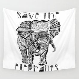 Save the elephants shirt Wall Tapestry