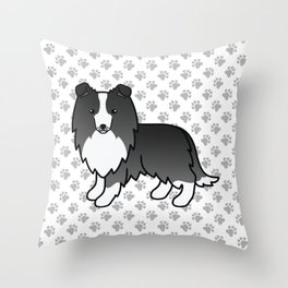 Bi-Black Shetland Sheepdog Dog Cartoon Illustration Throw Pillow