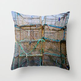 Lobster Cages II Throw Pillow