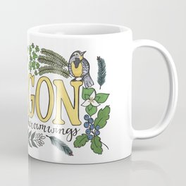 Oregon State Motto Bird Flower Nature Hand Drawn Art Coffee Mug