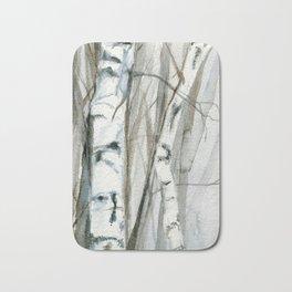 Winter Birch Trees Woodland Watercolor Original Art Print Bath Mat