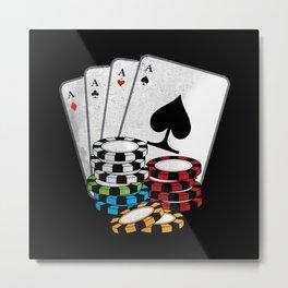 Quad Aces Poker | Funny Gambling Gift Metal Print