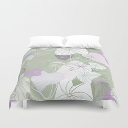 Large Abstract Dandelion Seeds Repeating Pattern on Green Duvet Cover