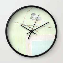 Chickadee Winter Wall Clock