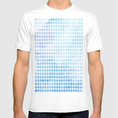 Houndstooth blue watercolor White Mens Fitted Tee MEDIUM