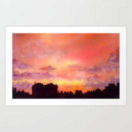 Minsk sunset skyline in watercolours Art Print