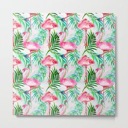 Pink forest green tropical flamingo watercolor floral Metal Print