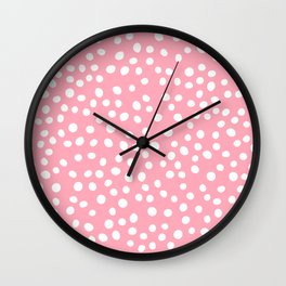 Bright pink and white doodle dots Wall Clock