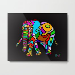 Rainbow Elephant Metal Print