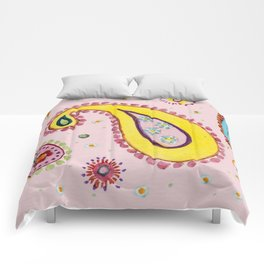 Pink Paisley  - Motifs Cachemire Rose Comforters